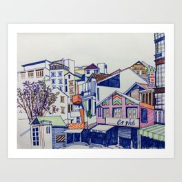 Colourful streetview of Dalat, Vietnam Art Print