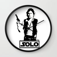 han solo Wall Clocks featuring Han Solo by Mister Munny
