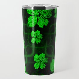 artfully painted green asian  blossoms on the dark background Travel Mug