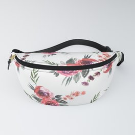 Bouquets Pattern Red Fanny Pack