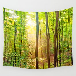 Sunbeams in the forest Wall Tapestry