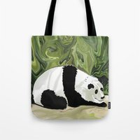 lee pace Tote Bags featuring Driving at Panda Pace by Distortion Art