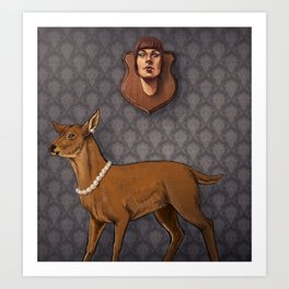 Deer and the Human Mount Art Print