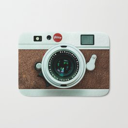 Retro vintage leather camera Bath Mat