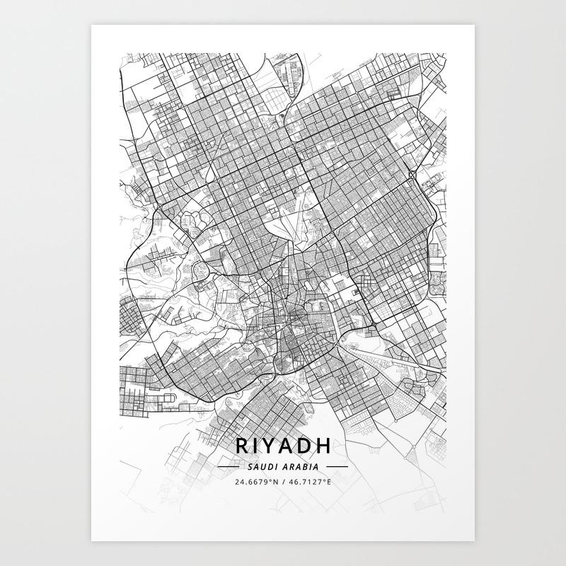 Riyadh saudi arabia light map art print