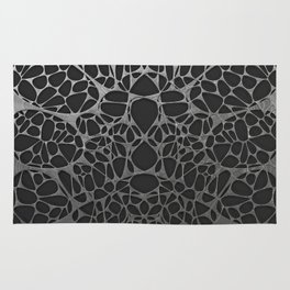 Metal on black, organic abstraction Rug