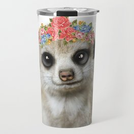 Meercat wirh flower crown Travel Mug