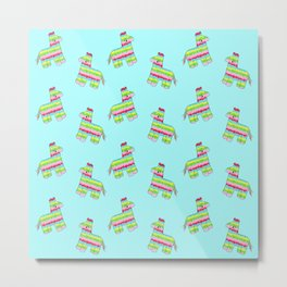 Pinata Pattern Blue Metal Print