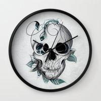 boho Wall Clocks featuring Skull Boho  by LouJah