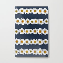 Daisy Chains on Navy Metal Print