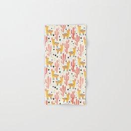 Yellow Llamas Red Cacti Hand & Bath Towel
