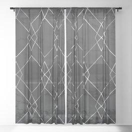 Silver Geometric on Black Marble Sheer Curtain