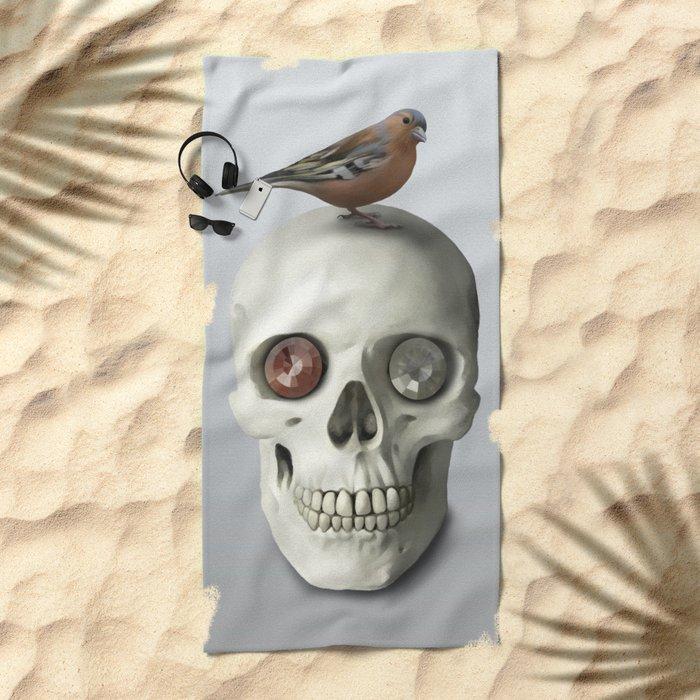 Skull & bird, watercolor Beach Towel