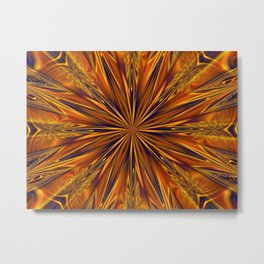 Golden Star Burst Metal Print