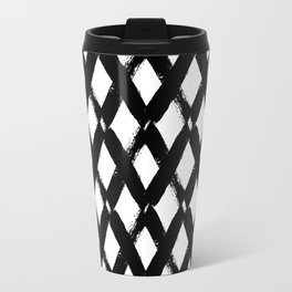 Black and White Criss Cross Pattern Modern Contemporary Travel Mug
