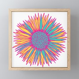 Neon Sunflower Framed Mini Art Print