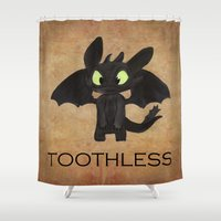 toothless Shower Curtains featuring Toothless  by Walko