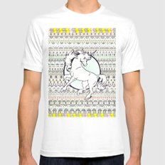 Unicorn Party White Mens Fitted Tee SMALL