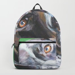 GSP German Shorthaired Pointer dog portrait art from an original painting by L.A.Shepard Backpack