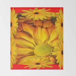 MODERN RED GOLDEN YELLOW SUNFLOWERS ART Throw Blanket