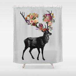 Spring Itself Deer Floral Shower Curtain
