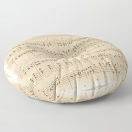 vintage beige music notes Floor Pillow