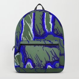 vintage psychedelic painting texture abstract background in dark blue and grey Backpack