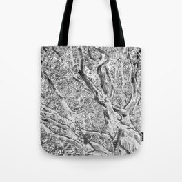 RHODODENDRON - TWISTING TRUNKS - IN BLACK AND WHITE Tote Bag