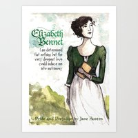 pride and prejudice Art Prints featuring Pride & Prejudice by The History Witch