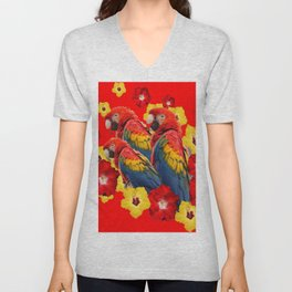 TROPICAL BLUE MACAWS & RED YELLOW HIBISCUS RED ART Unisex V-Neck