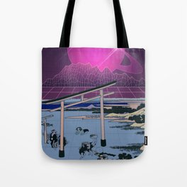 Synthwave Space: Views of mount Fuji #2 Tote Bag