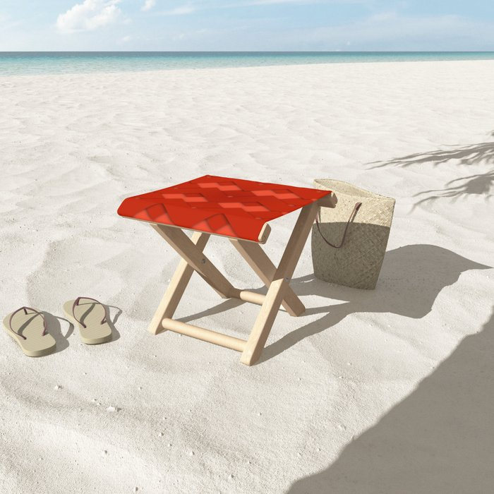 Beautiful Red Zigzag Design Folding Stool