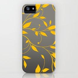 FLOWERY VINES | grey yellow iPhone Case