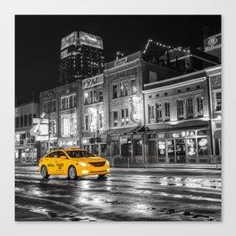 Yellow Cab - Nashville Black and White Canvas Print