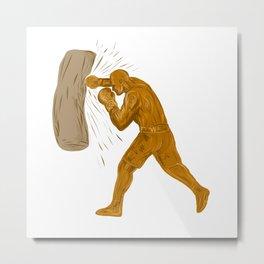 Boxer Punching Bag Drawing Metal Print