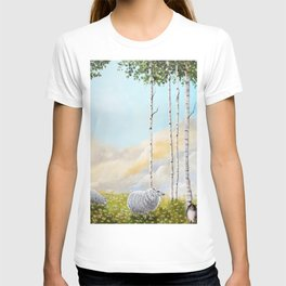 Afternoon on the Hill Birch Tree Painting T-shirt