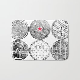 Manhole Cover Ink Print Complilation Bath Mat
