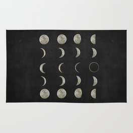 Moon Phases, Black White Decor, Bohemian, Magic, Lunar Cycle Rug
