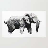 african Area & Throw Rugs featuring African Elephant by T.E.Perry