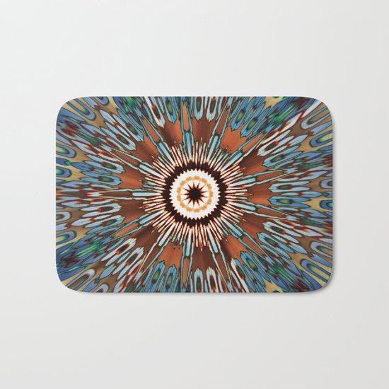 Teal Brown Kaleidoscope Bath Mat By 2sweet4words Designs