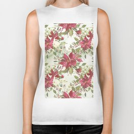 Pink burgundy green watercolor floral holly leaves Biker Tank