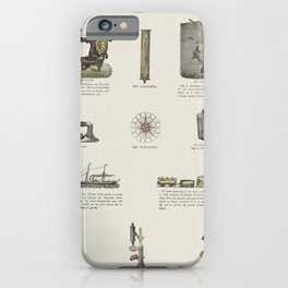 Illustration of 11 representations of inventions such as sewing machine barometer and compass (1869- iPhone Case