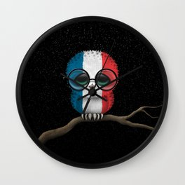 Baby Owl with Glasses and French Flag Wall Clock