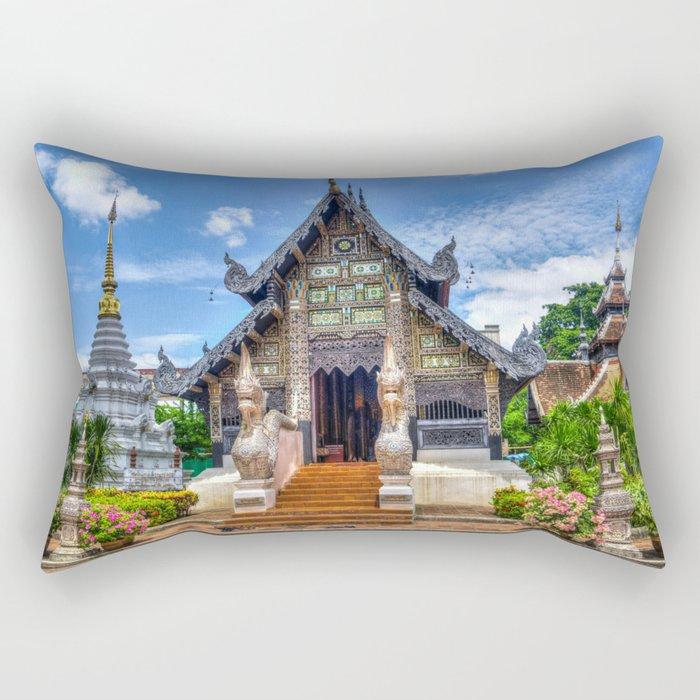 Chiang Mai Thailand Buddhist Temple Rectangular Pillow
