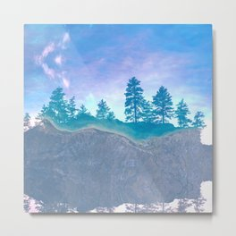 lakeside trees bright blue aesthetic landscape art altered photography Metal Print