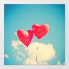 Heart Balloons and the Cloudy Sky Canvas Print