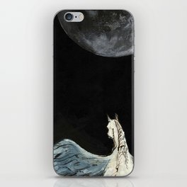 Horse flying to the moon Silver stream illustration iPhone Skin