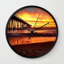 "Hermosa Beach ""Peace & Love"" Wall Clock"