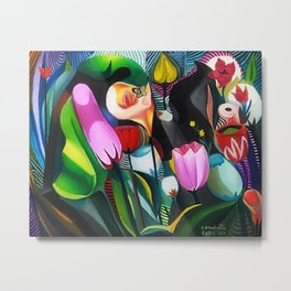 Flowers, Composition Still Life Portrait by E. di Cavalcanti Metal Print