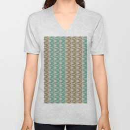 Mid Century Modern Retro Geometric Shapes Stripes Jade Green Tobacco Brown and Gray Unisex V-Neck